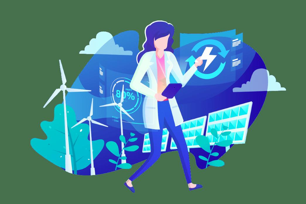 desenho relacionado a energia renovável png azul
